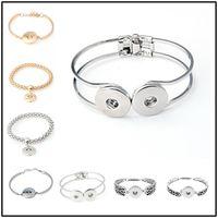 Wholesale 14k gold cuff bracelets - Trendy 69 Styles Alloy Charm Button Cuff Bracelets Noosa DIY Jewelry 18mm Snap Buttons Beaded Chunk Bracelets