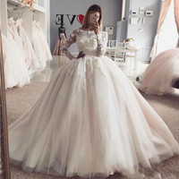 Wholesale sweep wedding dress puffy resale online - New Design Princess Ball Gown Wedding Dresses Vintage Sheer Long Sleeves Appliqued Puffy Tulle Arabic Bridal Wedding Gowns