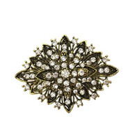 Wholesale large diamante brooches resale online - Dark Silver Plated Clear Rhinestone Crystal Diamante Large Flower Vintage Bouquet Brooch