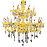 современный свет высокое качество оптовых-Современные хрустальные люстры лимонно-желтый потолок люстра свет подвесные светильники E14 высокое качество K9 хрустальная люстра для отеля