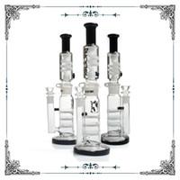 тройной кальян оптовых-Черный Белый Прямой Тройной HoneyComb Perc Bong Глицерин Замораживающая Катушка Трубка Стеклянная труба для воды построить кальяны для курящих опьяняющий