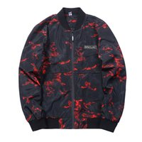 Wholesale high quality plus clothing - 2018 New High Quality outwear Men s Bomber Jackets Long Sleeve Red Printed Field Coats Europe Size Man Clothing XL plus size