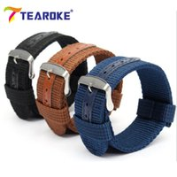 часы пояса нейлон оптовых-TEAROKE Army Canvas Nylon Fabric Watchband 20mm 22mm Dark Blue Pin Buckle Replacement Belt Watch Band Strap Watch Accessories