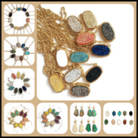 Wholesale green square earrings - 15 Styles Mixed Druzy Gold Sliver Plated Small Studs Necklace Sequins Square Shaped Resin Opal Earring as Gifts