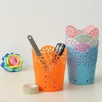 ingrosso portafogli in plastica-Organizer multifunzione creativo del supporto della spazzola di trucco della matita del fiore vuoto multifunzionale per i cosmetici