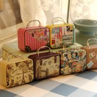 Wholesale Mini Handbag Tin - Continental Mini Storage Tin Box Retro Suitcase Handbag Small Rectangular Candy Box Small Iron Container
