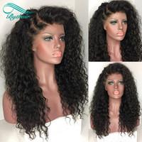 Wholesale heavy density full lace wigs - Heavy Density 150% Afro Kinky Curly Wigs Full Lace Human Hair Wigs Brazilian Lace Front Wigs Kinky Curly Wig For Black Women