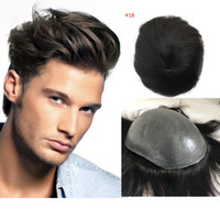 Wholesale super human hair wigs online - Full Pu Toupee For Men color Super Thin Skin PU V Loop Human Hair Mens Toupee Replacement Systems Hairpiece Mens Wig