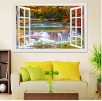 Wholesale people window - 3D Window View Wall Sticker Decal Sticker Home Decor Living Room Nature Landscape Decal Waterfall Mural Wallpaper Wall Art