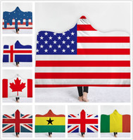 Wholesale knit fabric resale online - National Flag Hooded Blanket Soft Warm sofa lazy blankets Children Blanket with Hood Sherpa Fleece Snuggle wrap Blanket for Kids cm cm