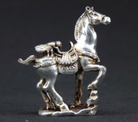Wholesale old copper statue resale online - OLD HANDWORK MIAO SILVER CARVING HORSE WONDERFUL STATUE