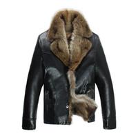 Wholesale raccoon fur coat plus size resale online - Mens Leather Jackets Winter Coats Real Raccoon Fur Coats Snow Overcoat Outwear Warm Thick Plus Size XL XL High Quality