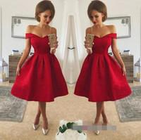 b908304b0f Sexy Red Homecoming Vestidos con cuello en V fuera del hombro hasta la  rodilla con cordones Applique una línea de vestidos Vestidos de fiesta