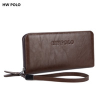 Wholesale Hw Fashion - HW POLO Brand fashion men wallet zippers long design wallets with a card holder TOP leather purse Male clutch bag 3 color L32