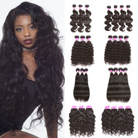 Wholesale Curly Remy Hair Styles - Cheap Brazilian Malaysian Virgin Human Hair Wefts 3 Bundle or 4 Bundle Body Wave Straight kinky curly deep wave Style Human Hair Extension