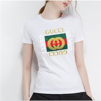 Wholesale direct labels for sale - 2018 new short sleeved T shirts from European and American fashion trend cotton large label printed blouse manufacturers direct