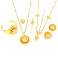 gold armbänder stück großhandel-24 Karat Gold Ethiopian Set Schmuck Anhänger Kette Clip Ohrring Armreif Haar Stück Afrikanische Habesha