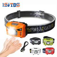 mini sensor de movimiento led al por mayor-5W LED faro cuerpo Sensor de movimiento Mini faro recargable al aire libre acampar linterna cabeza antorcha lámpara con USB