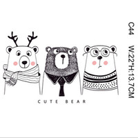 Wholesale wholesale bear patches - Cute Bear Cat Stickers Men Women DIY Stickers For Tshirts Hoodies Patches Iron-on Transfers Patches For Clothes