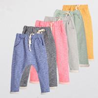 Wholesale Yellow Boys Trousers - Kids spring autumn cotton Harem pants 6 colors 5 sizes for 2-8T boys girls children causal sports pants trousers