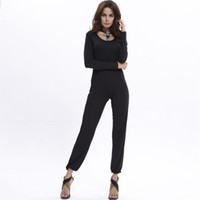 Wholesale stitch jumpsuit wholesaler for sale - FASHION Solid Color Stitching Halter Round Neck Long Sleeve Jumpsuit Sexy European And American Style Summer Women s Clothing