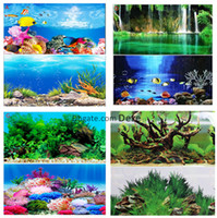 Wholesale wholesale aquarium decor - Wholesale 1 Roll 30cm High 15 Meters Long Glossy Aquarium Background Poster Double Sided Fish Tank Decorative Wall Backdrop Image Decor