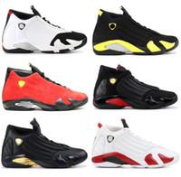 ingrosso scatole di caramelle nere-Di alta qualità 14 14s scarpe da basket uomo nero caviglia vittima rosso tuono scamosciata scarpe da basket ultimo colpo DMP Candy Cane con scarpe scatola