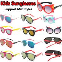 поддержка солнцезащитных очков оптовых-Милые дети солнцезащитные очки UV400 прекрасный ребенок солнцезащитные очки мальчики девочки партия солнцезащитные очки 5 стилей различные цвета поддержка Mix заказы