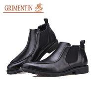 bottes pointues marques pour hommes achat en gros de-GRIMENTIN Hiver chaud vente marque hommes bottes en cuir véritable noir Pointed Toe mode classique des affaires formelle cheville bottes hommes chaussures OM5