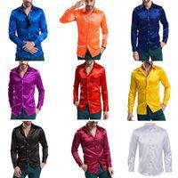 fb466b4d86 Camicia casual da uomo di alta qualità in seta emulazione di alta qualità  Camicia casual da uomo in raso lucido