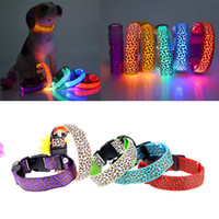 Wholesale led glow dog collar for sale - 6 Colors Leopard LED Pet Dog Collar Night Safety Glow In The Dark Dog Leash Lead Tools Training Collars Dog Pet Supplies