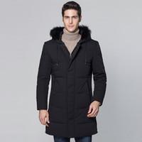 черные парки для мужчин оптовых-Winter Jacket Men Clothes 2018 Duck Down Jacket Men Coats Parkas  Fur Hooded Thick Black Casual Down Coat Parka Men ZT482