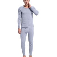 erkekler için siyah termal iç çamaşırı toptan satış-2018 Sıcak Kış Mens Sıcak Termal Iç Çamaşırı Erkek Uzun Seksi Siyah Termal Iç Çamaşırı Setleri Kalın Artı Velet Uzun Adam Için