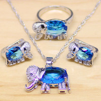 Wholesale blue topaz necklaces - topaz skull Elephant Blue Zircon White Crystal 925 Sterling Silver Jewelry Sets For Women Party Earrings Pendant Necklace Rings T157