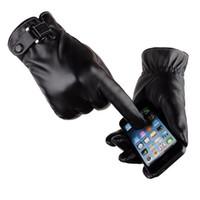 Wholesale plush cuffs online - Men Winter Warm Gloves Retro Thickened PU Leather Touchscreen Gloves Plush Cuff Outdoors Anti skid Gloves for Men