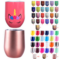 Wholesale Wholesale Travel Coffee Cups - 9oz stainless steel tumblers Unicorn stemless wine glasses travel cup Insulated wine tumbler coffee Mugs with lids egg cups Christmas gift