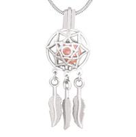 hint rüya yakalayıcılar kolye toptan satış-Hint Tarzı Gümüş Dream Catcher Kafes Kolye Dreamcatcher Boncuk Inci Kafes Kolye Uçucu Madalyon Için Kolye 5 adet CP019
