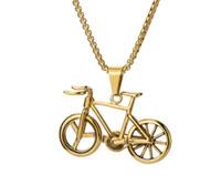 pingente de corrente de bicicleta venda por atacado-Moda jóias de ouro cores de bicicleta colar de pingente de cadeia longa hip hop homens colar de aço inoxidável