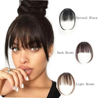 Wholesale real brazilian human hair resale online - 100 Real Human Hair Clip In Bangs Clip On Bangs Extension Hand Tied Hair Extension For Women