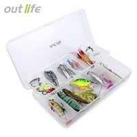 Wholesale salmon fishing baits - Outlife 35pcs   Set Soft Hard Fishing Lure for Trout Bass Salmon Fish Tackle with Plastic Box Salmon Fishing Lure Wobbler Crankbait Fishing