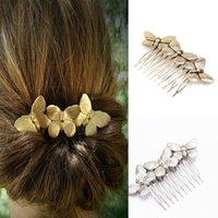 peine de horquilla de mariposa al por mayor-Elegante Plata Oro Metal Metal Peinados Forma de mariposa Accesorios para el cabello de boda Peines de novia Joyería de horquilla Regalo de Navidad