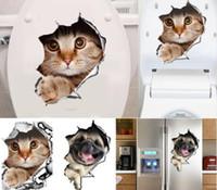 ingrosso adesivi da bagno-Adesivi murali gatti 3D Adesivi per toilette Vista fori Cani vivi Decorazione stanza da bagno Animali decalcomanie in vinile Art Sticker Wholesale 0706026