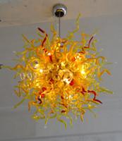 araña de cristal amarillo al por mayor-Modern Blow Glass Chandelier Lemom Yellow Balls Lámparas Luces led CE Certificado UL 110v / 240v Murano Glass Ceiling Decor Chandeliers