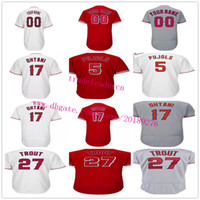 Wholesale Los Angeles Jerseys - Mens Youth Women 17 Shohei Ohtani 27 Mike Trout 5 Albert Pujols Custom Any Name Number Home Away White Red Gray Los Angeles Baseball Jerseys