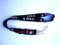 ingrosso cinturino nero-Il trasporto libero nuovo HOT 10 pz / lotto POLO sport cordini cellulare collo chiave catene cinghie accessorio nero / rosso / rosa