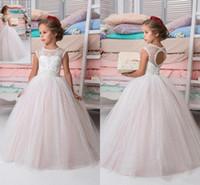 girls wearing tutus blue 2018 - Blush Pink Princess Lovely Flower Girl Dresses for Wedding Tutu Sequined Appliqued Child Kids Formal Wear First Communion Dress BA9629