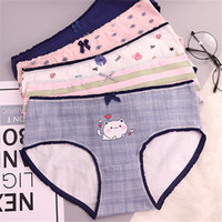 db8ccc62cf6 HUI GUAN Cartoon Animal Bow Decoration Girls Briefs Print Cotton Seamless  Panties Women Striped Breathable Cute Briefs Lingerie. 35% Off