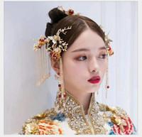 ingrosso cravatte dei capelli cinesi-2018 accessori per abiti, accessori per capelli da sposa, cravatta a farfalla rossa antica cinese, accessori da sposa per donna.