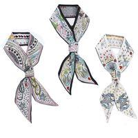 Wholesale Chiffon B - Satin Chiffon Ribbon Tarot Cards Pattern Printed Silk Scarf For Summer Women Head Decoration Hair Band Creative 7 5kq B