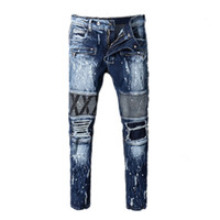Wholesale popular jeans - mens jeans balmain Motorcycle biker jeans rock revival skinny Slim ripped Popular Cool beggar Mottled hole true pants men designer jenas